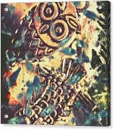 Retro Pop Art Owls Under Floating Feathers Acrylic Print