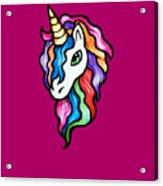 Retro Rainbow Unicorn Acrylic Print