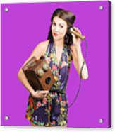 Retro Receptionist On Vintage Telephone. Call Us Acrylic Print