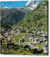 Retro Swiss Travel Zermatt And Mount Matterhorn  Acrylic Print