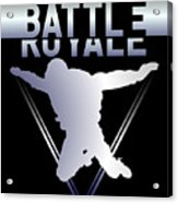 Retro Vintage 90s Chrome Skydiver Battle Royale Gamer T Shirt Acrylic Print
