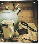 Retro Vintage Toned Tea Still Life In Crate Acrylic Print