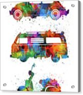 Retro Wheels Watercolor Acrylic Print