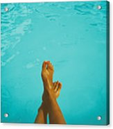Retro Young Girl Relaxing Her Feet At Swimming Pool Acrylic Print
