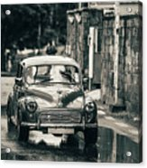 Retromobile. Morris Minor. Vintage Monochrome Acrylic Print