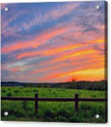 Retzer Nature Center - Summer Sunset Over Field And Fence Acrylic Print