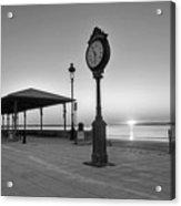 Revere Beach Clock At Sunrise Revere Ma Black And White Acrylic Print