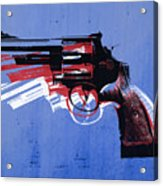 Revolver On Blue Acrylic Print by Michael Tompsett