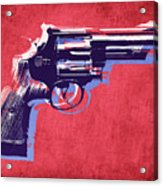 Revolver On Red Acrylic Print by Michael Tompsett