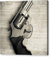 Revolver Pistol Gun Over Drawings Acrylic Print