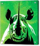 Rhino Animal Decorative Green Poster 5 - By Diana Van Acrylic Print