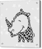 Rhinoceros Black Stars Acrylic Print
