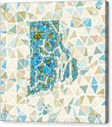 Rhode Island State Map Geometric Abstract Pattern Acrylic Print