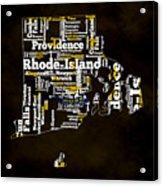 Rhode Island Typographic Map Acrylic Print
