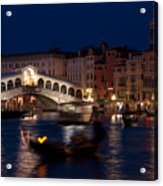 Rialto Bridge In Venice At Night With Gondola Acrylic Print