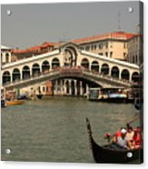 Rialto Bridge In Venice With Gondola Acrylic Print