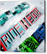 Ride In Powder Snowboard Graphics In The Snow Acrylic Print by Andy Smy
