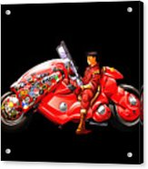 Rider On Red Motorbike Acrylic Print