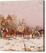 Riders Outside A Village In A Winter Landscape Acrylic Print