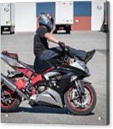 Riding On Handle Bars Acrylic Print