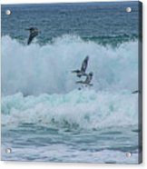 Riding The Waves At Wall Beach Acrylic Print