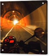 Riding Through One Of The Many Tunnels In The Italian Alps Acrylic Print