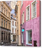 Riga Narrow Road Digital Painting Acrylic Print
