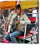 Rikshaw Rider - New Delhi India Acrylic Print