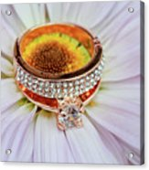 rings on white daisy love Valentine's Day  gerbera and wedding gold  Acrylic Print