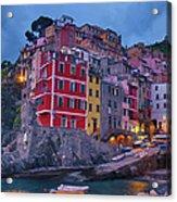Riomaggiore In Cinque Terre Italy Painterly Acrylic Print
