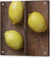 Ripe Lemons In Wooden Tray Acrylic Print