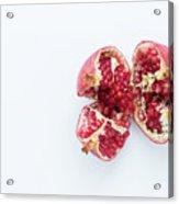 Ripe Pomegranate Fruit On A White Background Acrylic Print