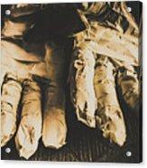 Rising Mummy Hands In Bandage Acrylic Print