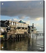 Rising Storm Dock Street Acrylic Print by Sheri McLeroy