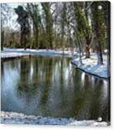 River Cherwell Meandering Through Christ Church Meadows Oxford Uk. Acrylic Print by Mike Lester