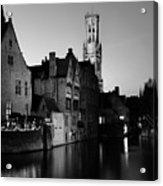 River Dijver And The Belfort At Night, Rozenhoedkaai, Bruges Acrylic Print