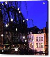 River Dijver, Rozenhoedkaai Area At Night, Bruges City Acrylic Print