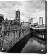 river irwell flowing between manchester on the left and salford on the right Manchester uk Acrylic Print
