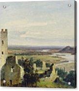 River Landscape With Castle Ruins Acrylic Print
