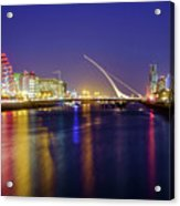 River Liffey In Dublin At Dusk Acrylic Print