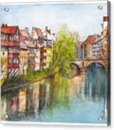 River Pegnitz In Nuremberg Old Town Germany Acrylic Print