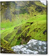 River Skoga And Green Nature In Iceland Acrylic Print
