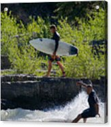 River Surfers Snake River Acrylic Print