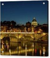 River Tiber And Vatican At Night Acrylic Print