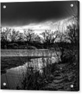 River With Dark Cloud In Black And White Acrylic Print