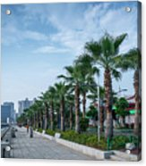 Riverside Promenade Park And Skyscrapers In Downtown Xiamen City Acrylic Print