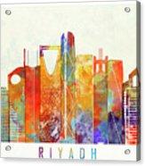 Riyadh Landmarks Watercolor Poster Acrylic Print