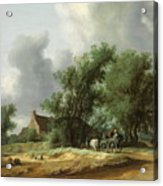 Road In The Dunes With A Passenger Coach After The Rain1631 Acrylic Print