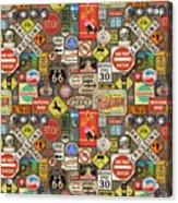 Roads Signs On Wood-jp3958-b Acrylic Print