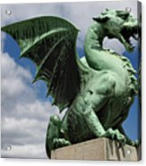 Roaring Winged Dragon Sculpture Of Green Sheet Copper Symbol Of  Acrylic Print